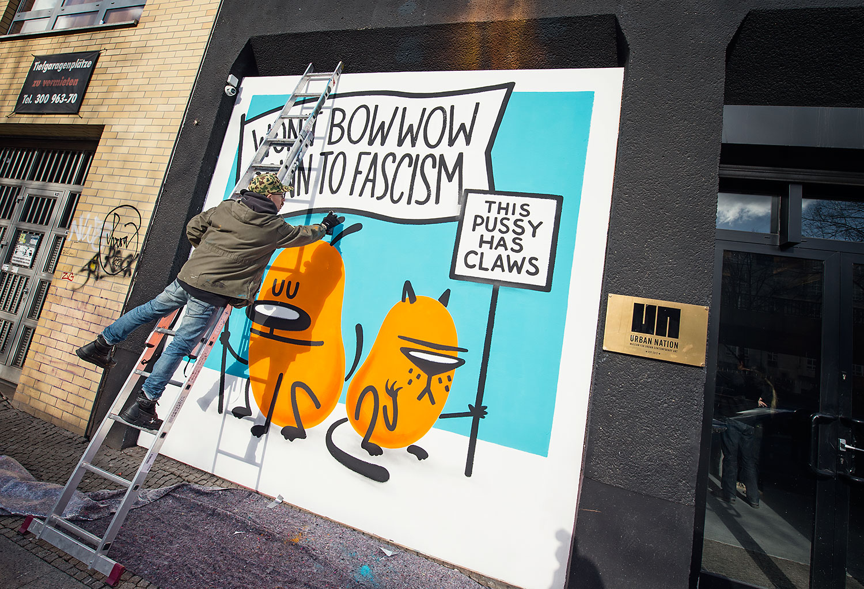 Dave the Chimp painting for Project M/11 - Radius - curated by Rudolf D. Klöckner (Urban Shit), Christian Hundertmark (C100) and Boris Niehaus (Just) in partnership with Urban Nation, Berlin, Germany, in February 2017. #projectM #projectM11 #UrbanNation #UrbanNationBerlin #MuseumofUrbanAndContemporaryArt #streetart #urbanart @urbannationberlin @1234Just @c100studio @urbanshitgallery @davethechimp photo by Nika Kramer
