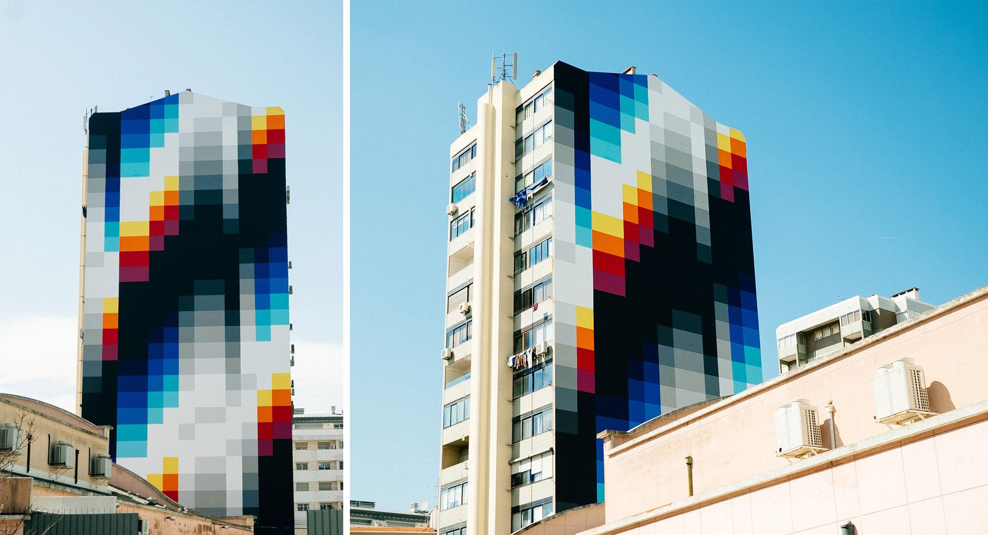 Biggest mural so far by Felipe Pantone in Lisbon Felipe Pantone