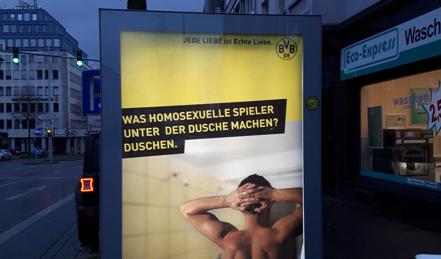 BVB Fake Plakatkampagne gegen Homophobie in Dortmund